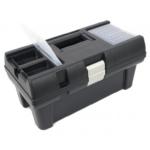 Szerszámosláda, műanyag, alucsatos, tálcával, felső rendezővel, 415x220x200mm (3385070)