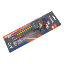 EXTOL PREMIUM imbuszkulcs készlet, 9 db, több színű, extra hosszú