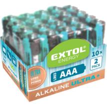 EXTOL LIGHT alkáli ultra+ elem 20db, AAA 1,5V