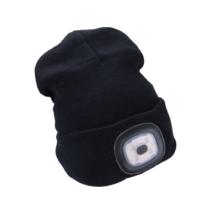 EXTOL LIGHT fekete kötött sapka, LED homloklámpával (43192)