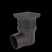 Kültéri víznyelő, öntöttvas ráccsal, vízszintes elfolyású, 110mm