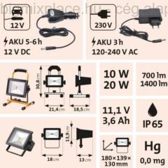 EXTOL LIGHT hordozható LED lámpa, reflektor (43125)