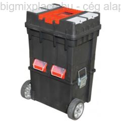 Szerszámosláda kerekes, Profi, erős, műanyag, fémcsatos, tálcával, 495x350x712mm (85059)