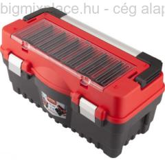 EXTOL PREMIUM szerszámosláda, műanyag, fémcsatos, tálcával, 462x256x242mm (8856080)