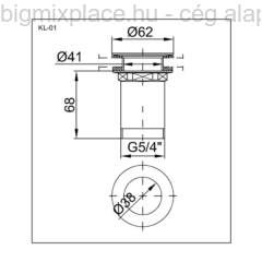 Klikk-Klakk leeresztőszelep mosdóhoz, kis dugóval, 5/4, szerkezeti ábra (KL-01)