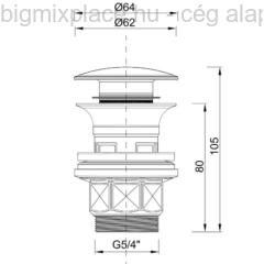 Kerámia leeresztő Klikk-Klakk mosdóhoz, KL-05, szerkezeti ábra