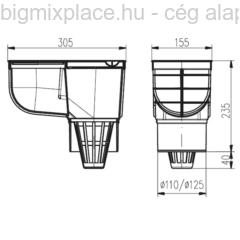 Kültéri víznyelő, ereszbekötéssel, standard, szerkezeti ábra