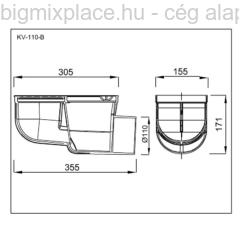 Kültéri víznyelő oldalkifolyású, 110mm, szerkezeti ábra