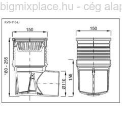 Kültéri víznyelő, öntöttvas ráccsal, vízszintes elfolyású, szerkezeti ábra