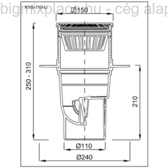 Kültéri víznyelő, öntöttvas ráccsal, függőleges elfolyású, 110mm, szerkezeti ábra