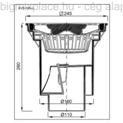 Kültéri víznyelő, öntöttvas ráccsal, szerkezeti ábra