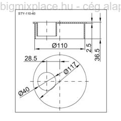 STYRON dugó átmérője 110mm, 40mm-es redukcióval, szerkezeti ábra (STY-110-40)
