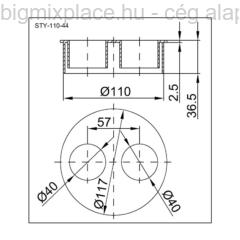 STYRON dugó átmérője 110mm, 2x40mm-es redukcióval, szerkezeti ábra (STY-110-44)