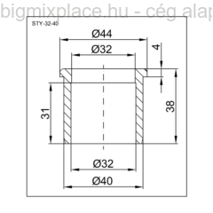 STYRON redukció 32-40mm, szerkezeti ábra (STY-32-40)