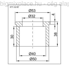 STYRON redukció 32-50mm, szerkezeti ábra (STY-32-50)
