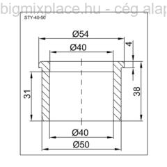 STYRON redukció 40-50mm, szerkezeti ábra (STY-40-50)