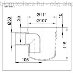 STYRON szuezszifon, egyágú, szerkezeti ábra (STY-501-1)
