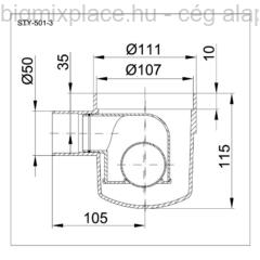 STYRON szuezszifon (padlószifon), egyágú, golyós bűzzárral, szerkezeti ábra (STY-501-3)