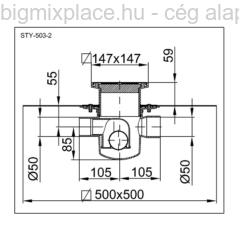 STYRON szuezszifon (padlószifon), egyágú szigetelhető, szerkezeti ábra (STY-501-2)