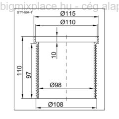 STYRON magasító padlószifonhoz, 110mm-es becsatlakozással, szerkezeti ábra (STY-504-1)