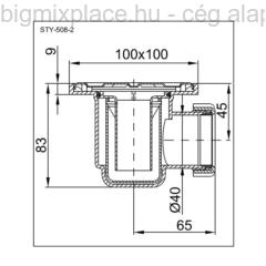STYRON padlószifon (szuez), zuhanytálca szifon, 100x100mm rozsdamentes ráccsal, cső nélkül, szerkezeti ábra (STY-508-2)
