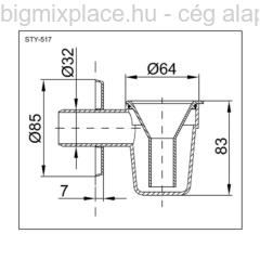 STYRON bojler csepegtető bűzzárral, szerkezeti ábra (STY-517)