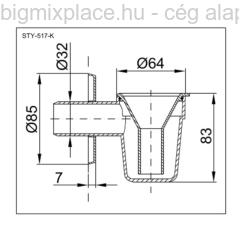 STYRON bojler csepegtető, krómozott, bűzzárral, szerkezeti ábra (STY-517-K)