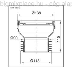 STYRON egyenes WC lefolyó csatlakozó, szerkezeti ábra (STY-530-E)