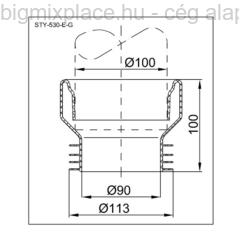 STYRON WC bekötő, egyenes, fehér, gumi, szerkezeti ábra (STY-530-E-G)