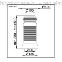 STYRON flexibilis WC bekötőcső, szerkezeti ábra (STY-530-F)