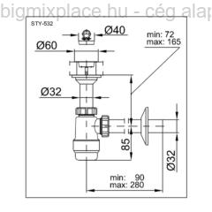 STYRON mosdószifon, fix leeresztővel, 32mm-es elfolyással, szerkezeti ábra (STY-532)