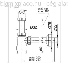 STYRON mosdószifon, 5/4col, szerkezeti ábra (STY-533-2)