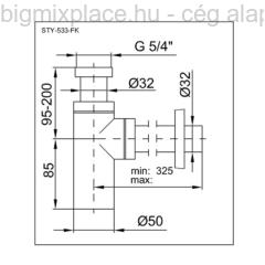STYRON fém búraszifon, kerek, szerkezeti ábra (STY-533-FK)