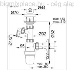 STYRON mosdószifon, nagyáteresztésű, mosógép-csatlakozóval, szerkezeti ábra (STY-534-1)