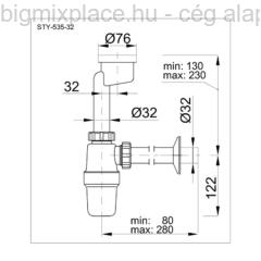 STYRON piszoár szifon excenteres (STY-535-32)