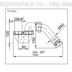 STYRON kádszifon, 6/4col, szerkezeti ábra (STY-536-2)