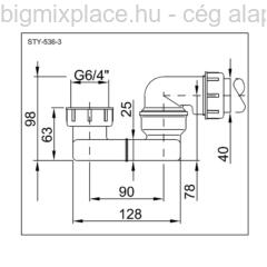 STYRON kád és zuhanyszifon, lapos, 6/4col, szerkezeti ábra (STY-536-3)