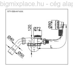 STYRON automata kádszifon, szerkezeti ábra (STY-536-A-F)