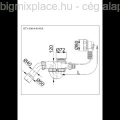 STYRON automata kádszifon, szerkezeti ábra (STY-536-A-K)