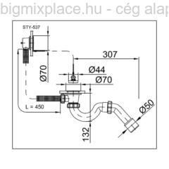 STYRON kádszifon, komplett fürdőkád leeresztő, szerkezeti ábra (STY-537)