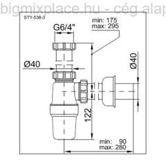 STYRON mosogató búraszifon, egymedencés, leeresztőszelep nélkül, szerkezeti ábra (STY-538-3)