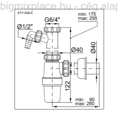 STYRON mosogató búraszifon, egymedencés, leeresztő nélkül, mosógép-csatlakozóval, szerkezeti ábra (STY-538-4)