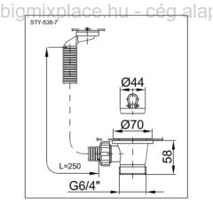 STYRON leeresztő szelep csepptálcás mosogatóhoz, túlfolyóval, szerkezeti ábra (STY-538-7)