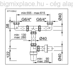 STYRON mosogató búraszifon, kétmedencés, leeresztő nélkül, szerkezeti ábra (STY-539-2)