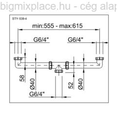 STYRON kétmedencés összekötő, mosogató búraszifon leeresztő nélkül, szerkezeti ábra (STY-539-4)