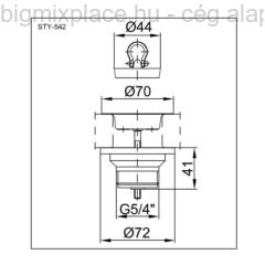 STYRON leeresztőszelep 5/4col, 70mm-es leeresztő tányérral, szerkezeti ábra (STY-542)