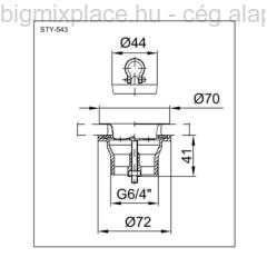 STYRON leeresztőszelep dugóval, 6/4col, 70mm-es tányérral, M6x40-es csavarral, szerkezeti ábra (STY-543)