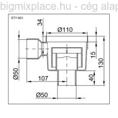 STYRON padlószifon (szuezszifon), alsókifolyású, egyágú, szerkezeti ábra (STY-601)