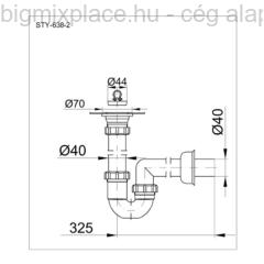 STYRON mosogató csőszifon, egymedencés, leeresztővel, szerkezeti ábra (STY-638-2)