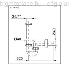 STYRON mosogató csőszifon, egymedencés, leeresztő nélkül, szerkezeti ábra (STY-638-3)